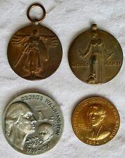 Lot (4) Medals,World War I & Ii,Eleanor Roosevelt,George Washington,Usa