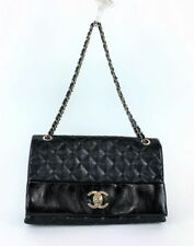 CHANEL Authentic Quilted Soft Elegance Jumbo Flap Bag Black Gold Crossbody $3900
