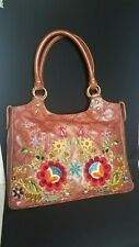 Isabella Fiore Brown Leather Purse Bag Tote Embroidered Floral NEW Sak's Fifth A