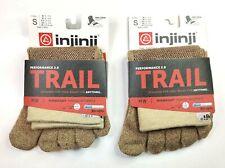 Injinji Performance 2.0 Trail 2-Pk Midweight Oat Mid-Crew Toe Socks (S)