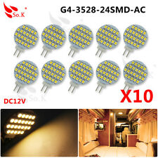 10x G4 2Watt 24 SMD 3528 LED Dimmable Boat RV Spot Light Bulb DC 12V Warm White