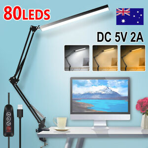 Table Desk LED Lamp with Clamp 3 Color Modes for Headboard Workbench Study Work