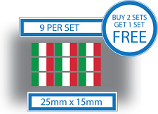 9 X Italian Flags Small Bike tête casquée CAR Vinyle Stickers Décalques Crafts ITALY 25 mm