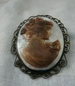 Sterling Silver Right Facing Abalone Mother Of Pearl Cameo Brooch Pendant