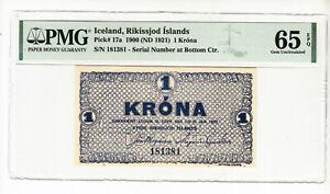 Iceland 1 krona 1900 (1921) UNC p17a PMG65 @ low start