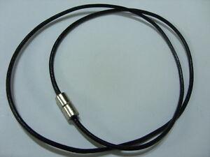 50 cm Unisex Lederkette Kette Band 2 mm schwarz mit Magnetverschluss