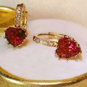 Elegant sim diamonds and red ruby heart hoop, 18k gold GF Earrings, Boxed