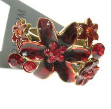 Pilgrim danés de diseño ajustable Ring encantado Flor Oro y Rojo Swarovski BNWT