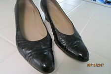 "Salvatore Ferragamo Pump, 9 AAAA, Dark Navy Blue, Textured Leather, 2"" Heels"