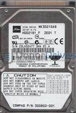 MK3021GAS, C0/GA124C, HDD2181 F ZE01 T, Toshiba 30GB IDE 2.5 Hard Drive