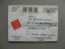 FINLAND, expresse cover to Germany 1988, ao Finnish settlement in America, map
