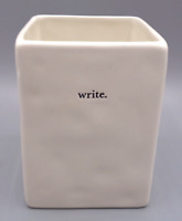 Rae Dunn By Magenta WRITE Pen Pencil Holder Typewriter Font White Ivory Artisan
