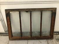 "Vintage Farmhouse Wood Window Sash 4 Pane.28x19.5"" paint Outside Finished Inside"