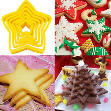 6pcs/set Fondant Cake Xmas Style Stars Shape Cookie Cutters Mold Decorating Tool