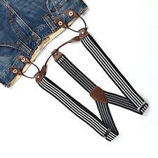 Fashional Men's Suspenders Braces Adjustable Leather Button Holes Stripes BD760