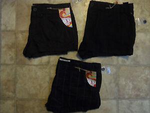 OP Porkchop PKT Shorts Size 7 9 11 13 17 Black Brown Plaid Casual