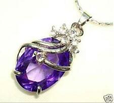 "Women's Jewellery Attractive Cutting Amethyst Pendant Necklace 17"" AA"