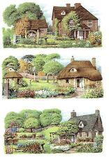"""3 English Cottage Garden Wrap Wraparound 7 3/4"""" X 3 1/2"""" Ceramic Decals Bx"""