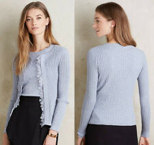 ANTHROPOLOGIE NWT Ribbed Lace Cardigan Sweater Grey Lavender Sz L Large $118