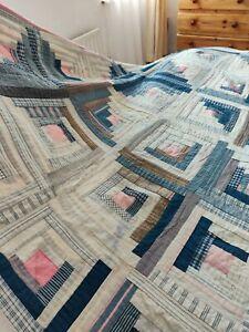 """Antique Irish hand stitched Irish linen patchwork quilt bedspread ~ 69 x 78"""""""