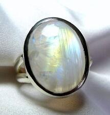 Mondstein Ring 925 Silber Gr. 17,8 (56) blau - gold - grüner Edelstein UNIKAT