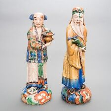 """Pair of 2 Antique Chinese Glazed Mudmen Pottery Statues Very Large 23"""" Tall"""