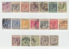 CYPRUS 1924 - 1928   ISSUE  USED STAMPS  SG.103/116+118/22 = SCOTT 89/107