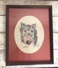 Vintage Charcoal Dog Portrait, Terrier Pet Drawing
