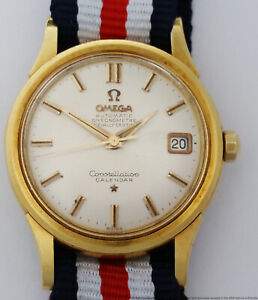 Crisp Omega 2943-0354 1955 Era 18k Gold Constellation Calendar Mens Watch