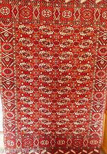 VTG RED BOKHARA PATTERN PLUSH CUT VELVET CHENILLE BED SPREAD COVER WALL HANGING