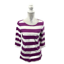 LOFT Sunwashed Bateau Striped Slub Top Purple & White Breast Pocket Petite M