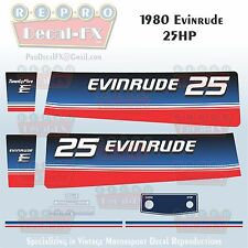1980 Evinrude 25 HP Two Stroke Outboard Repro 10 Pc Marine Vinyl Decals 25RCS