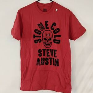 *NEW* STONE COLD STEVE AUSTIN WWE Wrestling Legends Red T-Shirt Mens Size M