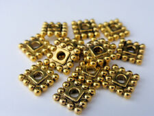 25 x Tibetan Style Square Spacer Beads 7mm x 7mm x 2mm Antique Gold LF NF