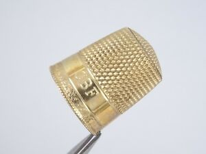 ANTIQUE VICTORIAN 14K SOLID YELLOW GOLD THIMBLE GADROON EDGE SIZE 10 - 3.8g 19mm