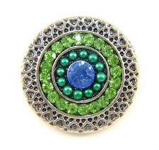 Noosa Style Chunks Ginger Snap On Jewellery Button Charm Green Quartz Stone 18mm