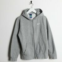 Vintage Kids NIKE Small Logo Zip Up Hoodie Sweatshirt Grey | XL 13-15 Yrs