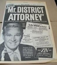 David Brian 1954 Ad- Mr District Attorney  ZIV Radio