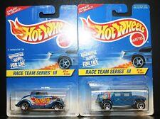 2 NEW HOT WHEELS RACE TEAM SERIES III 1/4 HUMMER, 3/4 3-WINDOW '34