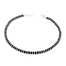925 Silver Anklet With Black Crystal Beaded Anklet Ankle Bracelet ~ Single