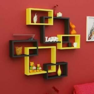Modern Intersecting Floating Wall Shelf Home Wall Decor Set of 6 (Yellow ,Black)
