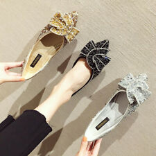 Womens Bling Bling Sequin Rhinestones Pointed Toe Wedding Bridal Loafers Shoes