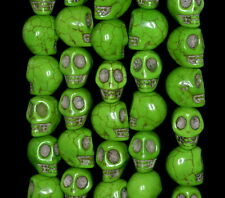 13X10MM GREEN TURQUOISE GEMSTONE HOWLITE CARVED SKULL HEAD LOOSE BEADS 16""