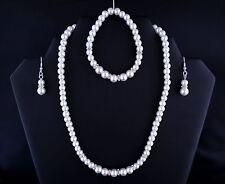 White Glass Pearl Rhinestone Necklace Bracelet Earring Bride Prom Jewellery Set