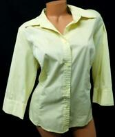 George yellow women's plus size 3/4 sleeve career stretch button down top 16W