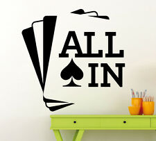 All In Poker Wall Decal Cards Game Casino Vinyl Sticker Art Decor Mural (10pk)