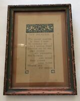 Vintage Antique Wooden Art Deco Hanging Picture Frame My Prayer Print Nail Back