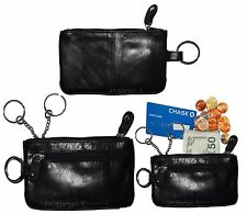 Lot of 2 Leather change purse,Black Zip coin wallet 2 pocket coin case key ring