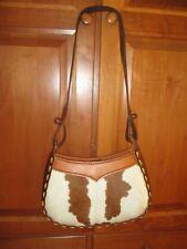 Handmade Brown Leather Cow Skin Stitch Purse Handbag