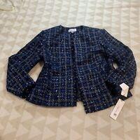 Calvin Klein Womens Blazer Jacket Tweed Blue Plaid Frayed Plus Size 16W Nwt New
